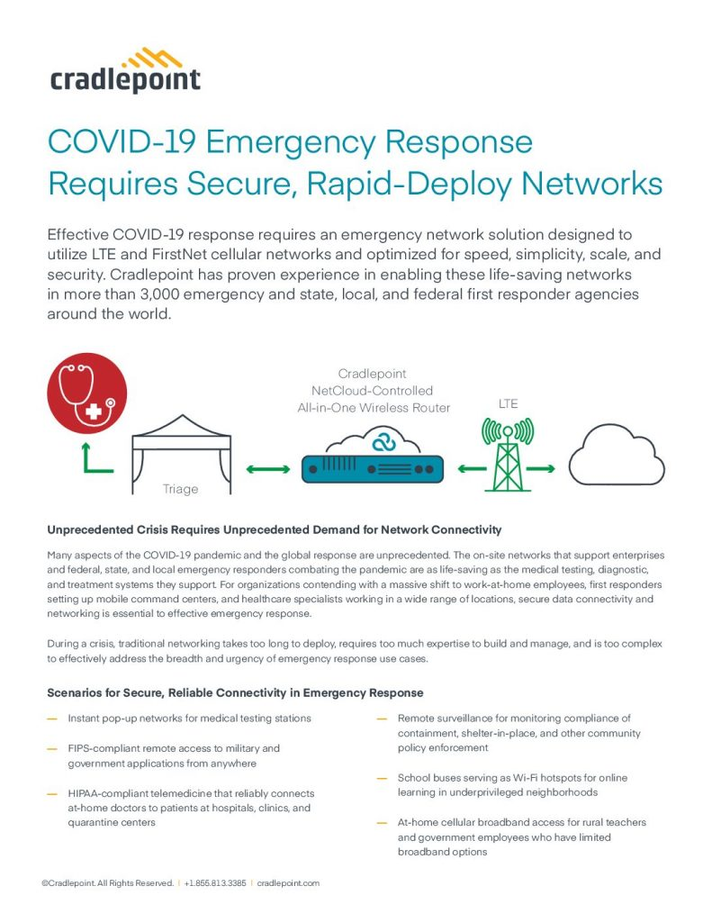 COVID-19 Emergency Response Requires Secure, Rapid-Deploy Networks