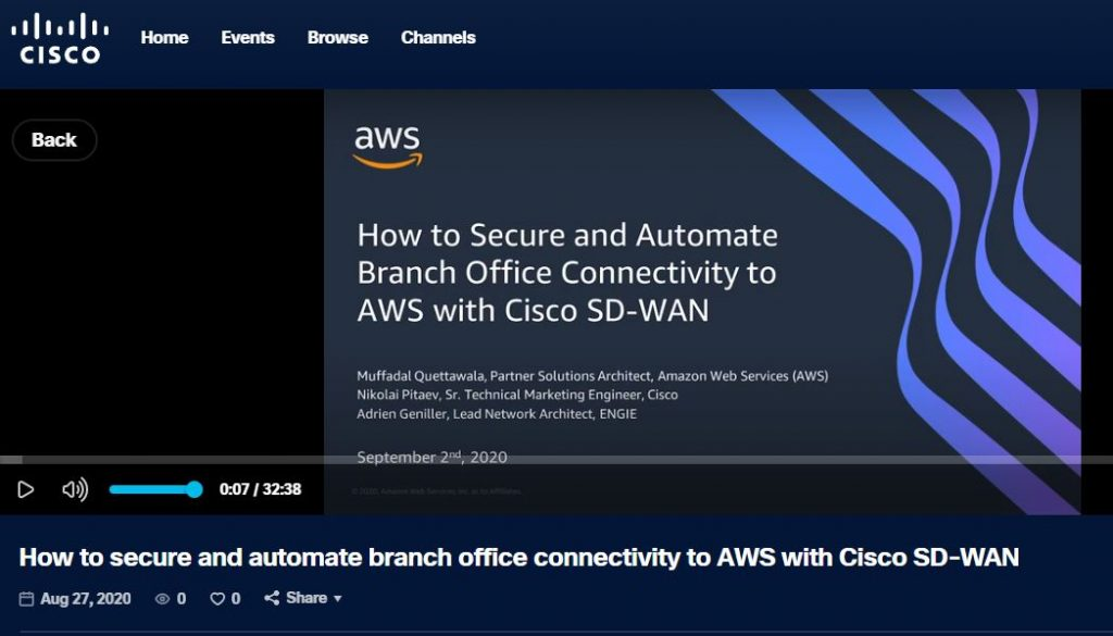 How to secure and automate branch office connectivity to AWS with Cisco SD-WAN