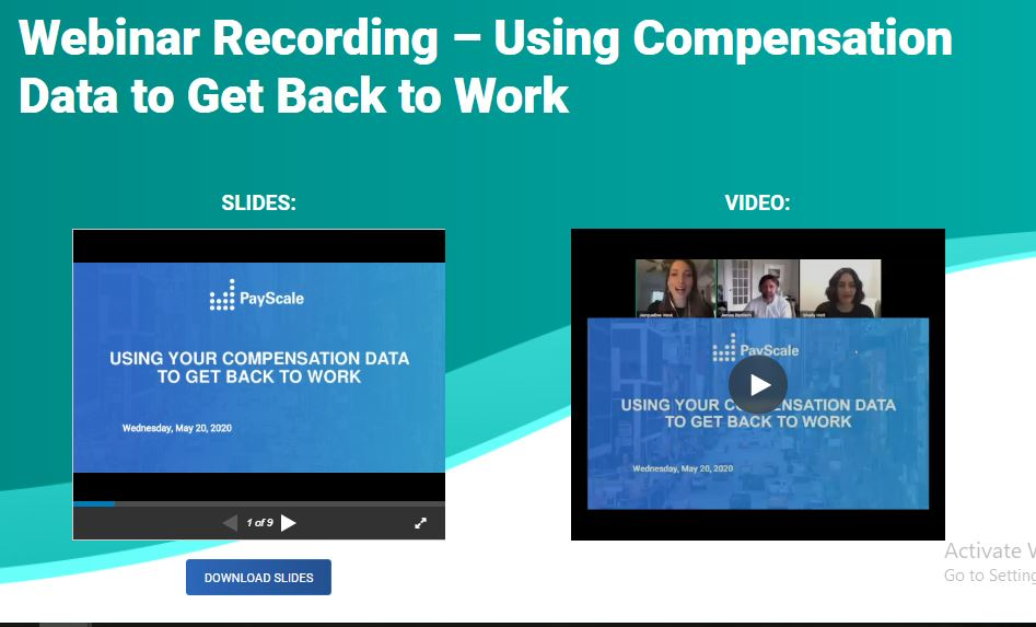 Using Compensation Data to Get Back to Work