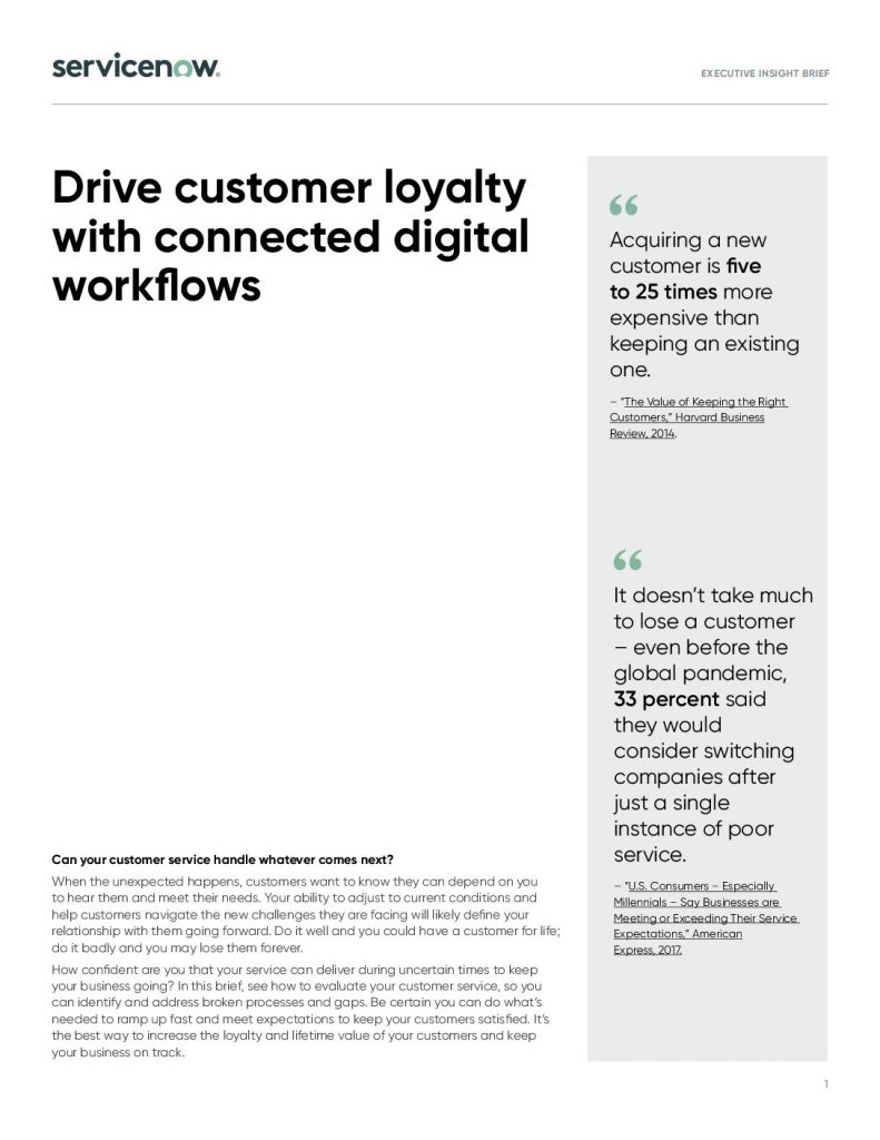 Drive customer loyalty with connected digital workflows