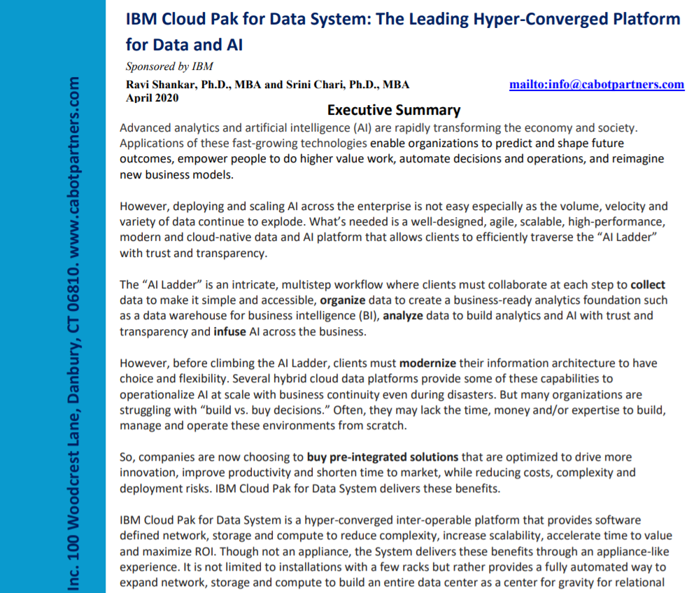 Cabot Report: IBM Cloud Pak for Data System, The Leading Hyper-Converged Platform for Data and AI