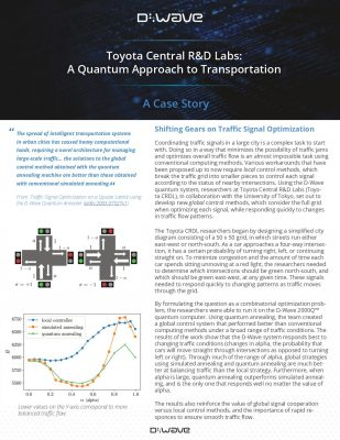 Toyota Central R&D Labs: A Quantum Approach to Transportation