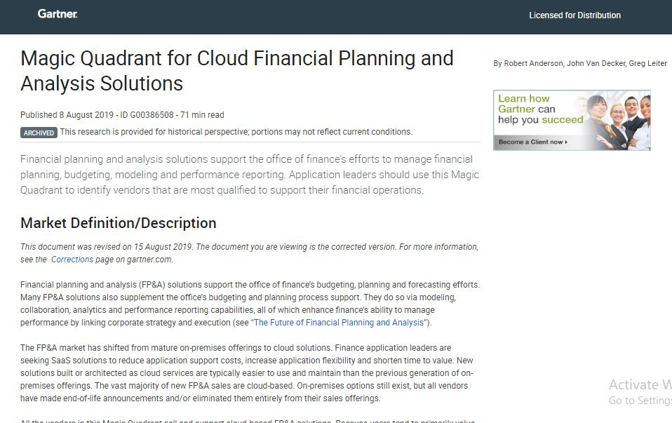 Magic Quadrant for Cloud Financial Planning and Analysis Solutions