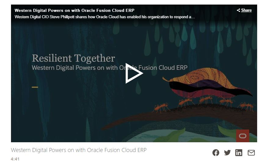 Western Digital Powers on with Oracle Fusion Cloud ERP