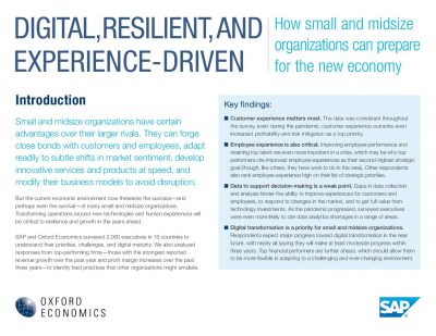 DIGITAL, RESILIENT, AND EXPERIENCE-DRIVEN - How small and midsize organizations can prepare for the new economy