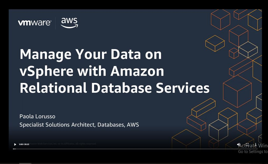 Manage Your Data on vSphere with Amazon Relational Database Services