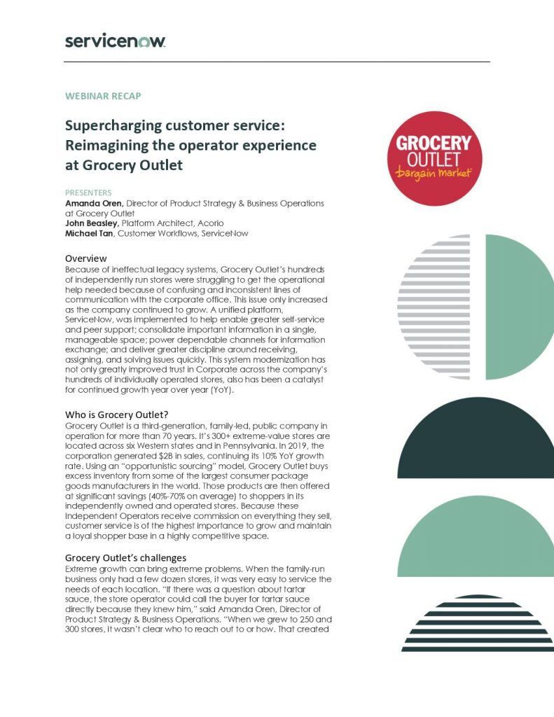 Supercharging customer service: Reimagining the operator experience at Grocery Outlet