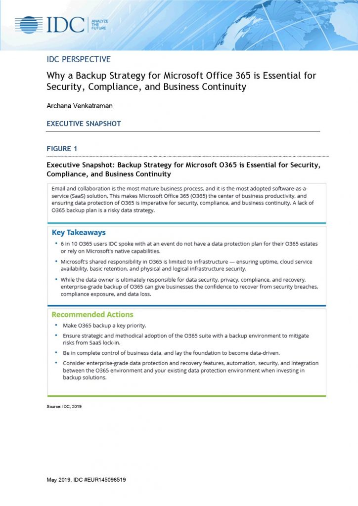 Why a Backup Strategy for Microsoft Office 365 is Essential for Security, Compliance, and Business Continuity