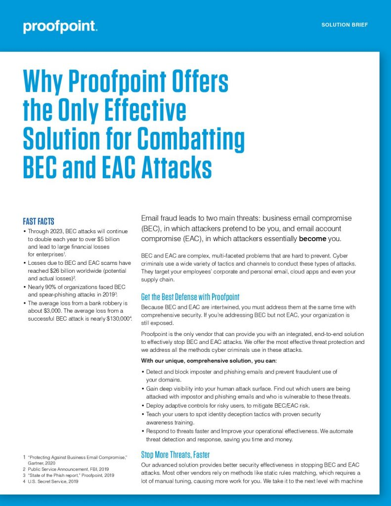 Why Proofpoint Offers the Only Effective Solution for Combatting BEC and EAC Attacks