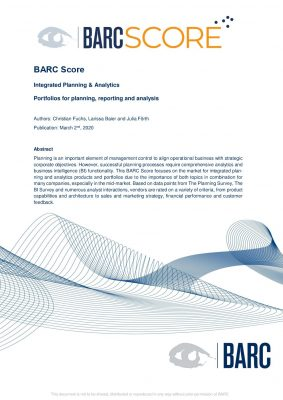 BARC Score: Integrated Planning  and  Analytics Portfolios for planning, reporting and analysis