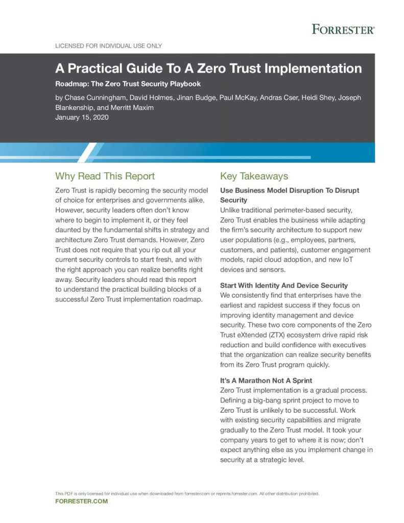 A Practical Guide to a Zero Trust Implementation