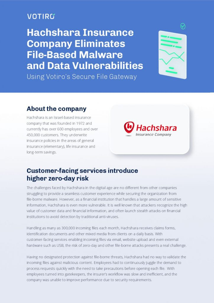 How Hachshara Insurance Eliminated File-Based Malware and Data Vulnerabilities