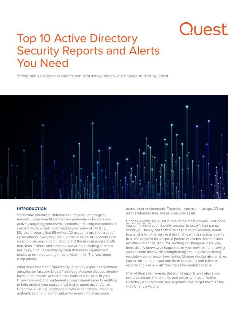 Top 10 Active Directory Security Reports and Alerts You Need