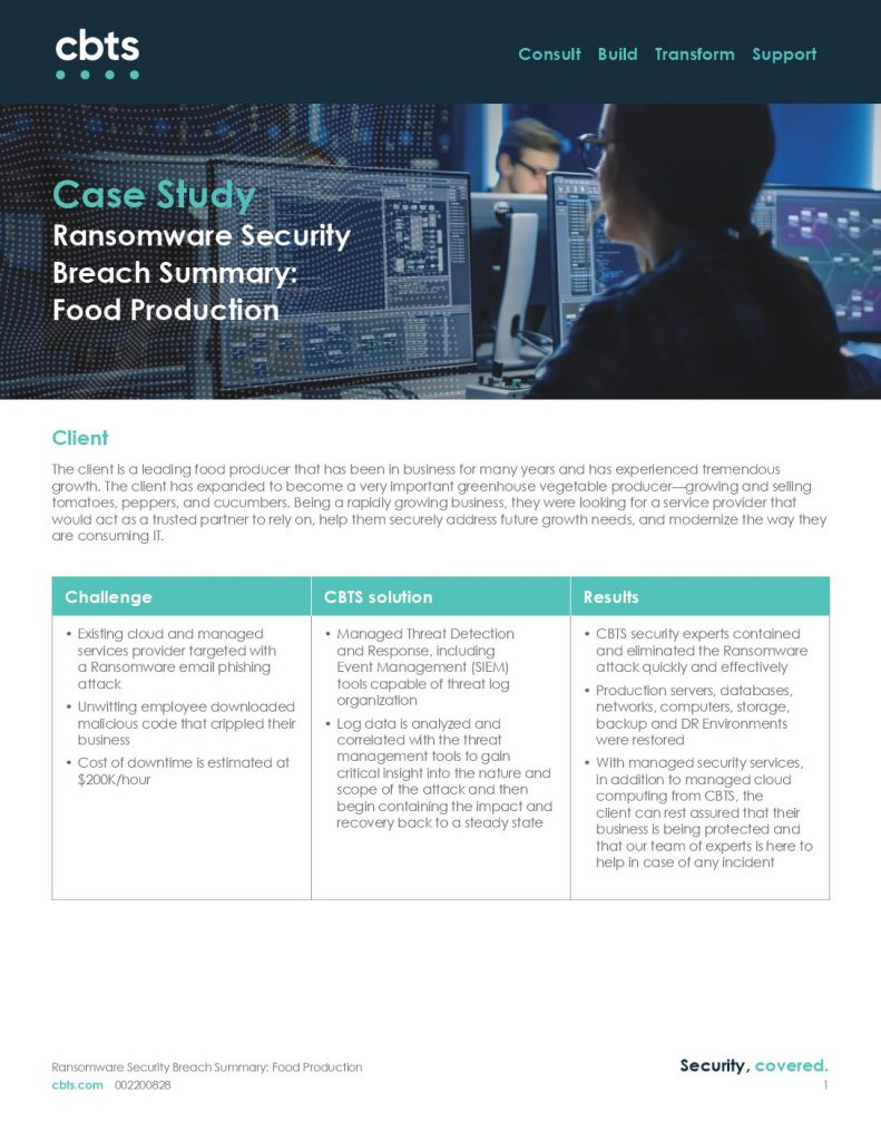 Ransomware Security Breach Summary: Food Production