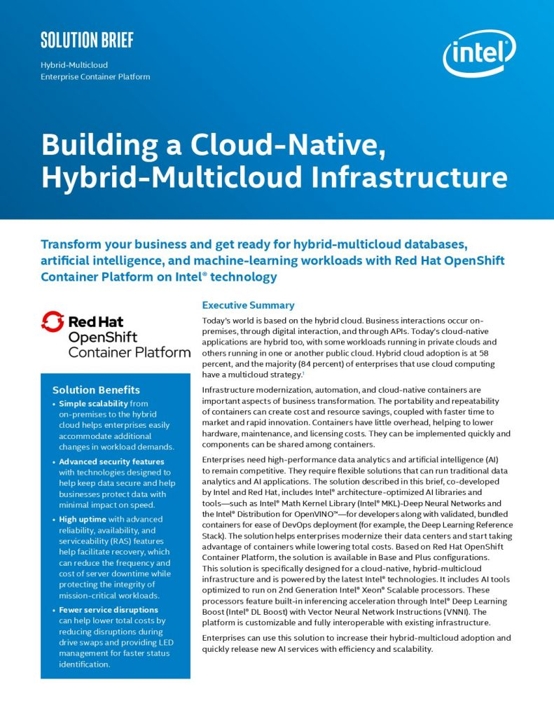 A Cloud-Native, Hybrid, Multi-cloud Solution Yields Better Efficiency and Scalability