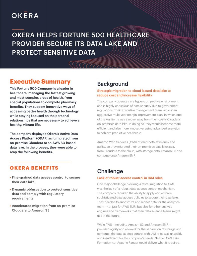 Okera Helps Fortune 500 Healthcare Provider Secure Its Data Lake and Protect Sensitive