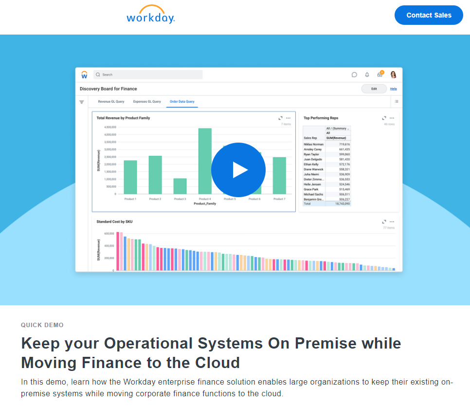 Keep your Operational Systems On Premise while Moving Finance to the Cloud