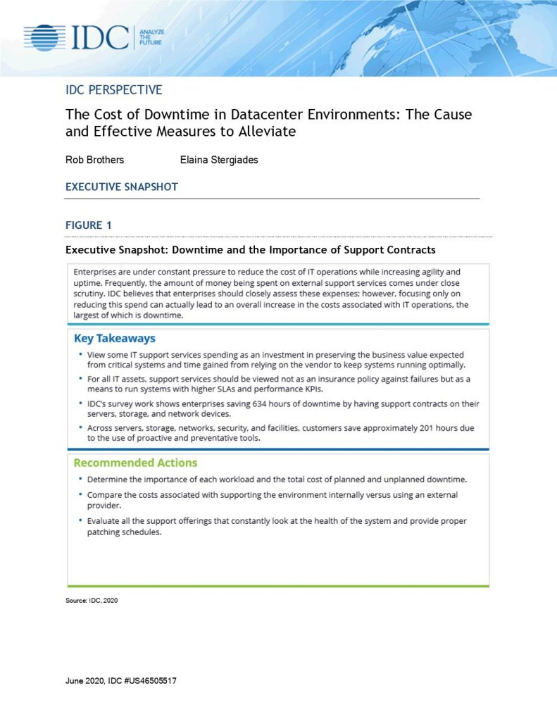 The Cost of Downtime in Datacenter Environments: The Cause and Effective Measures to Alleviate