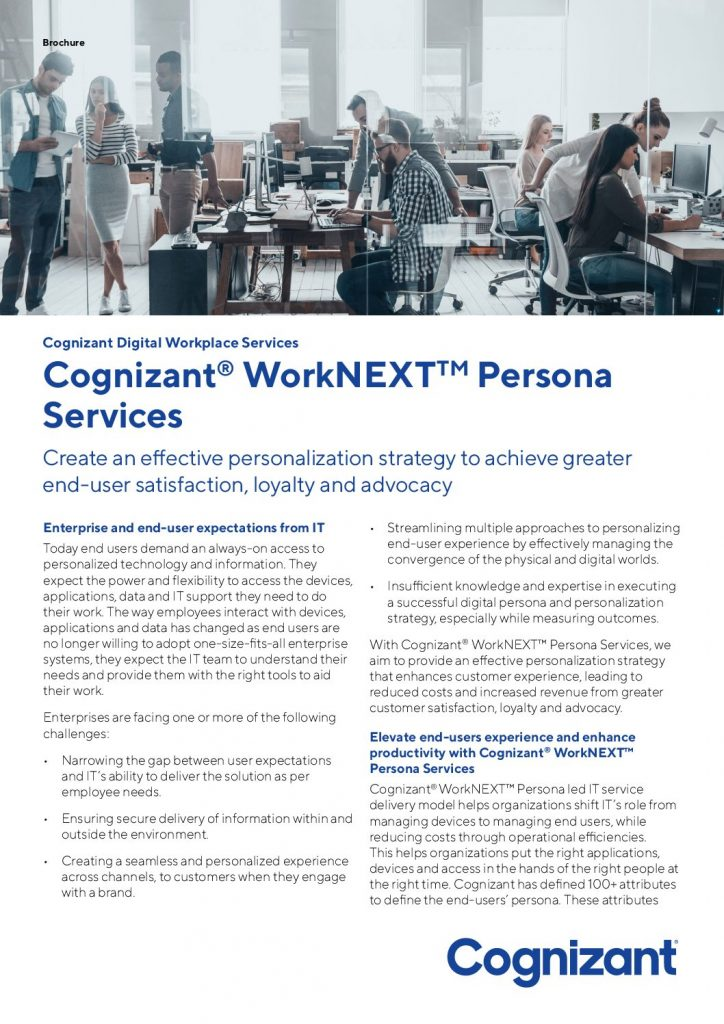 Elevate end-users experience and enhance productivity with Cognizant® WorkNEXT™ Persona Services