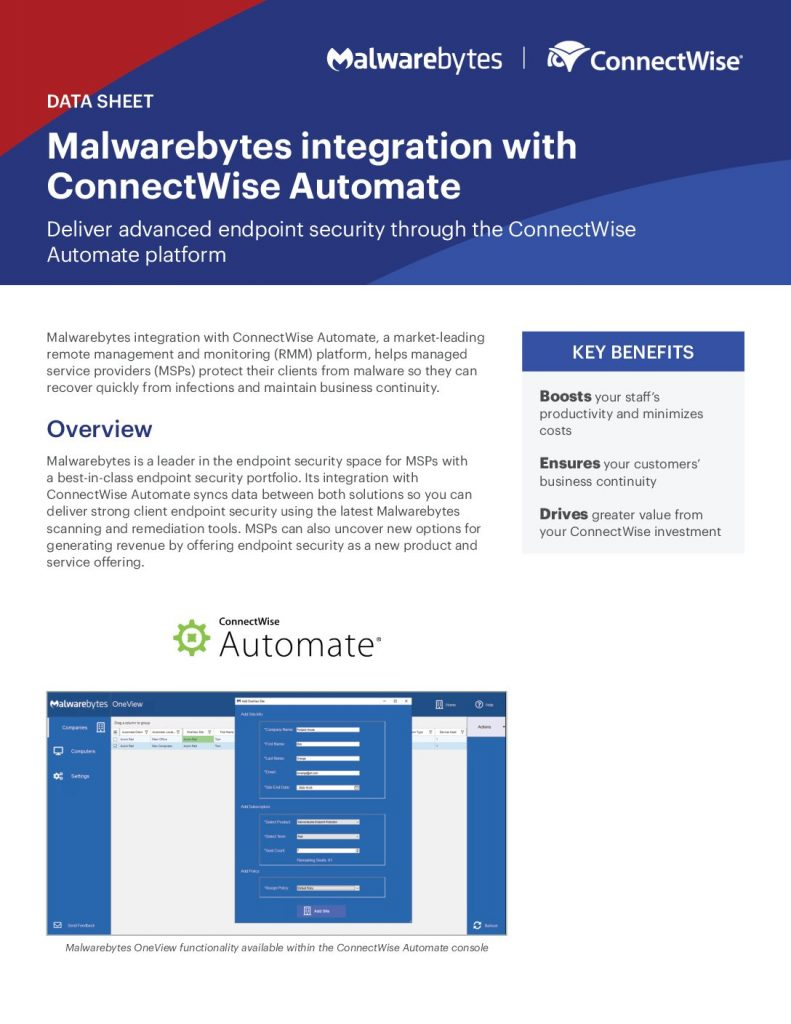 Malwarebytes integration with ConnectWise Automate