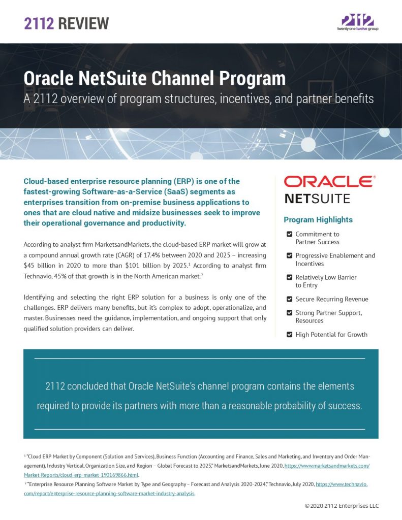 2112 Review-Oracle NetSuite Channel Program