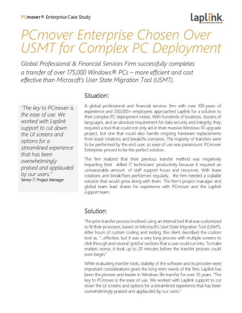 PCmover Enterprise Chosen Over USMT for Complex PC Deployment