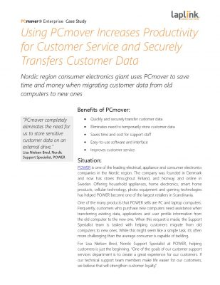 Retailer POWER Increased Productivity for Customer Service  and  Securely Transfers Customer Data