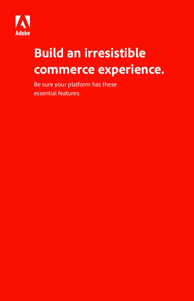 Build an Irresistible Commerce Experience
