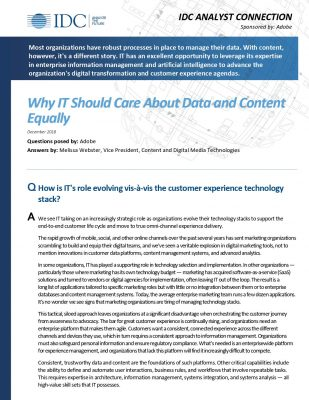 IDC Analyst Connection: Why IT Should Care About Data and Content Equally