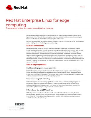 Red Hat Enterprise Linux for edge computing