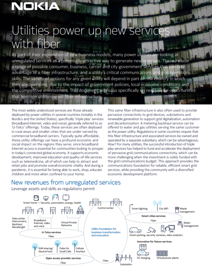 Nokia Utilities power up new services with fiber article