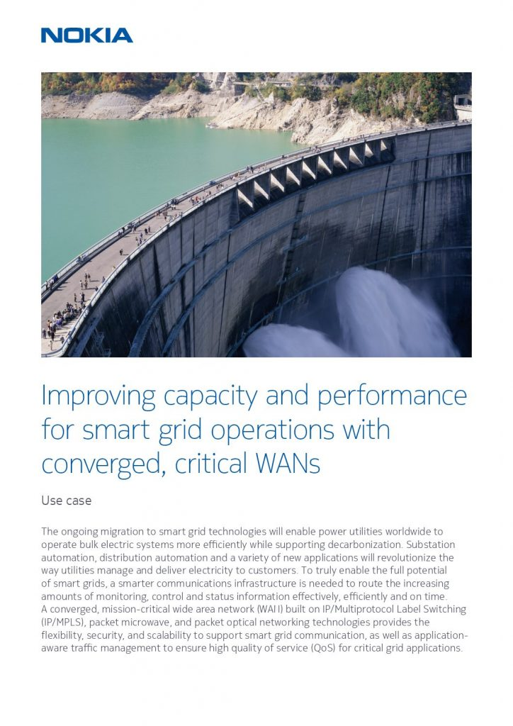 Nokia Improving capacity and performance for smart grid operations use case