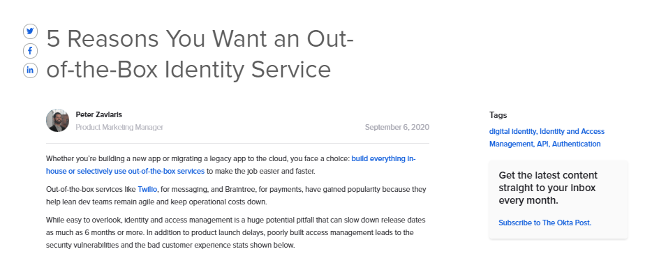 5 Reasons You Want an Out-of-the-Box Identity Service