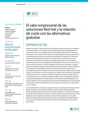 IDC: El Valor De Las Soluciones Red Hat En Contraste Con El Software Open Source Gratuito