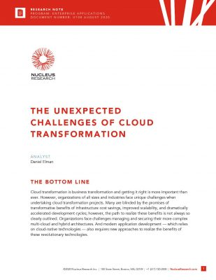 Nucleus Research: The Unexpected Challenges of Cloud Transformation
