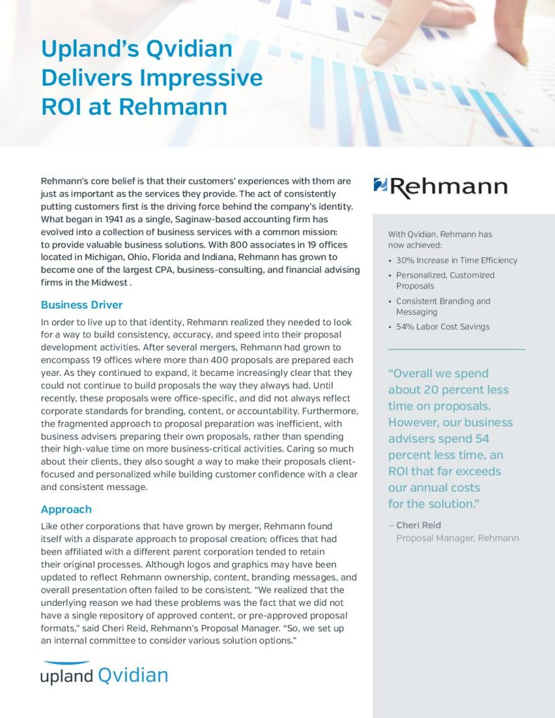 Case Study: Upland's Qvidian Delivers Impressive ROI at Rehmann