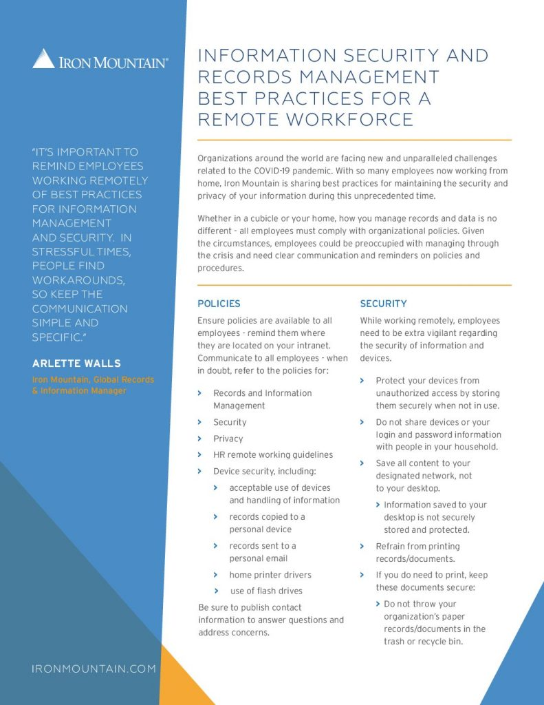 Best Practice Guidelines for Information Security & Records Management for Remote Workers
