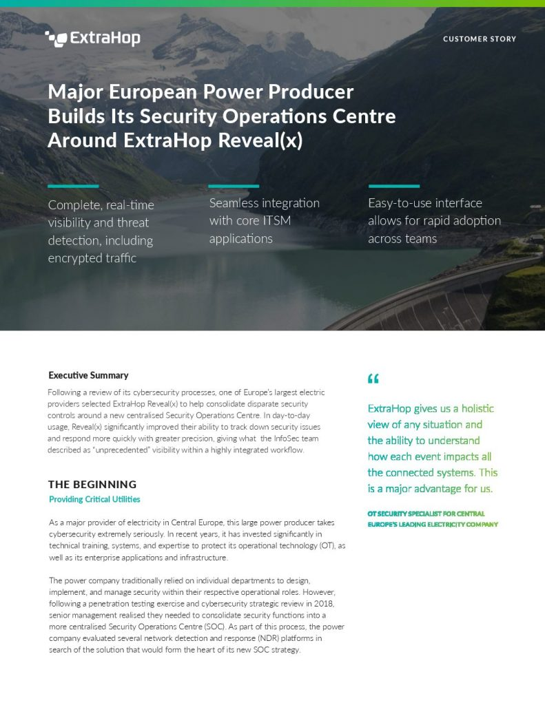 Major European Power Producer Builds Its Security Operations Centre Around ExtraHop Reveal(x)