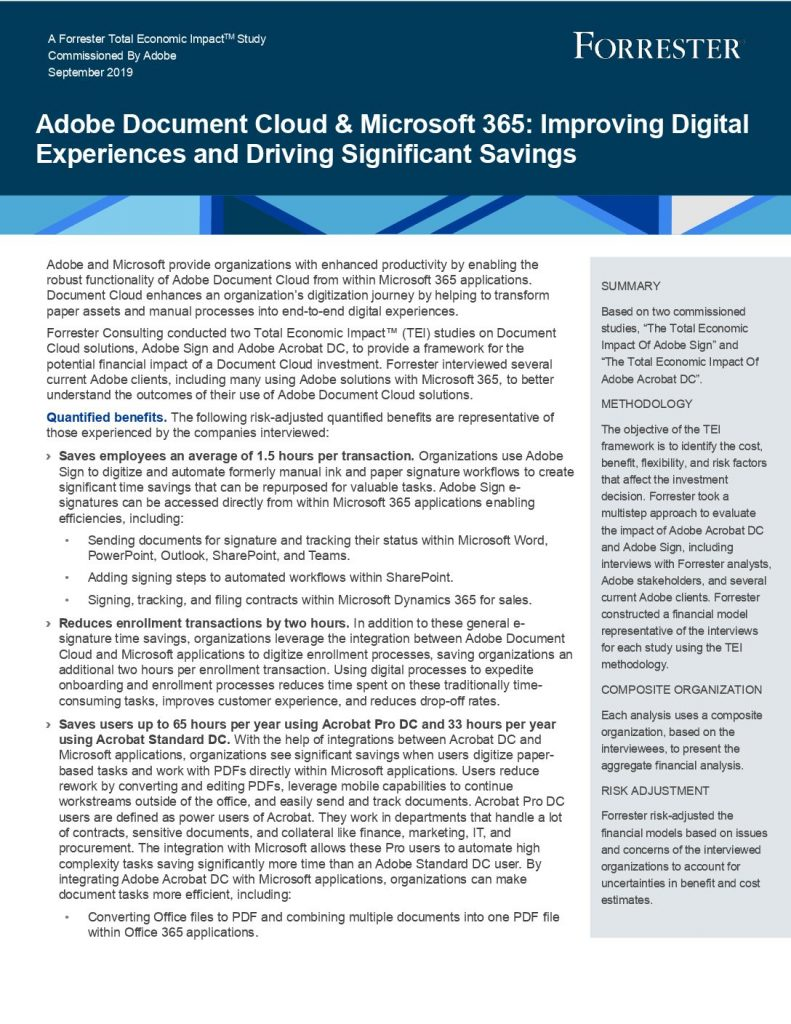 Adobe Document Cloud  and  Microsoft 365: Improving Digital Experiences and Driving Significant Savings: