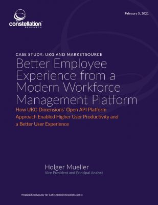 Better Employee Experience from a Modern Workforce Management Platform Constellation Research: UKG And MarketSource Customer Case Study