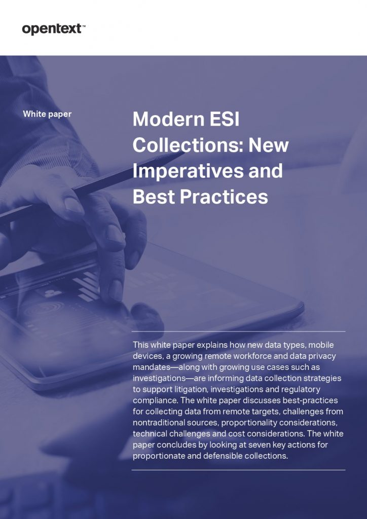 Modern ESI Collections: New Imperatives and Best Practices