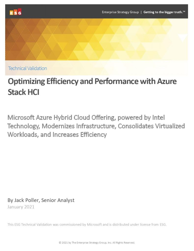 ESG Technical Validation: Optimizing Efficiency and Performance with Azure Stack HCI