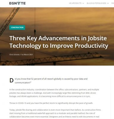 Three Key Advancements in Jobsite Technology to Improve Productivity