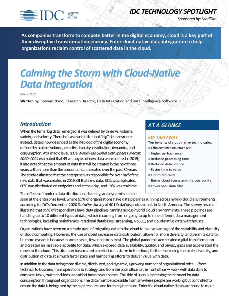 Calming the Storm with Cloud- Native Data  Integration