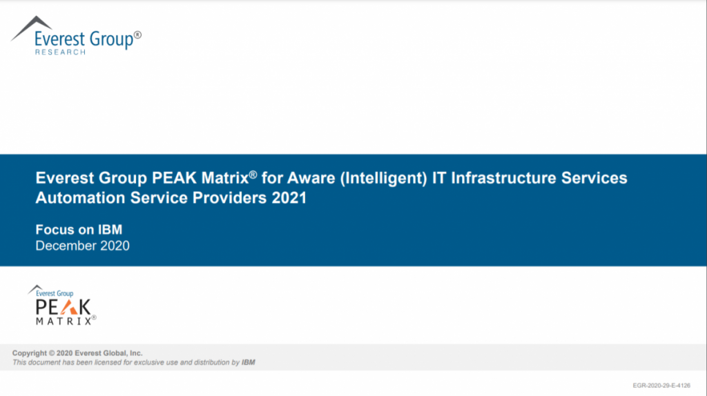 Everest Group Peak Matrix for Aware (Intelligent) IT Infrastructure Services Automation Service Providers 2021