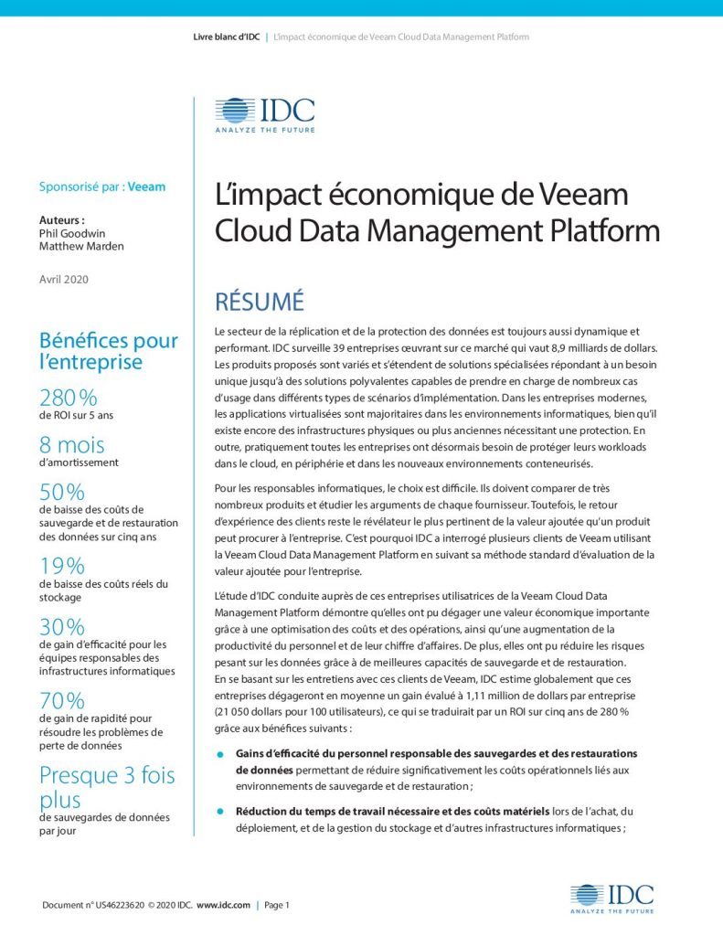 L'impact économique de Veeam Cloud Data Management Platform