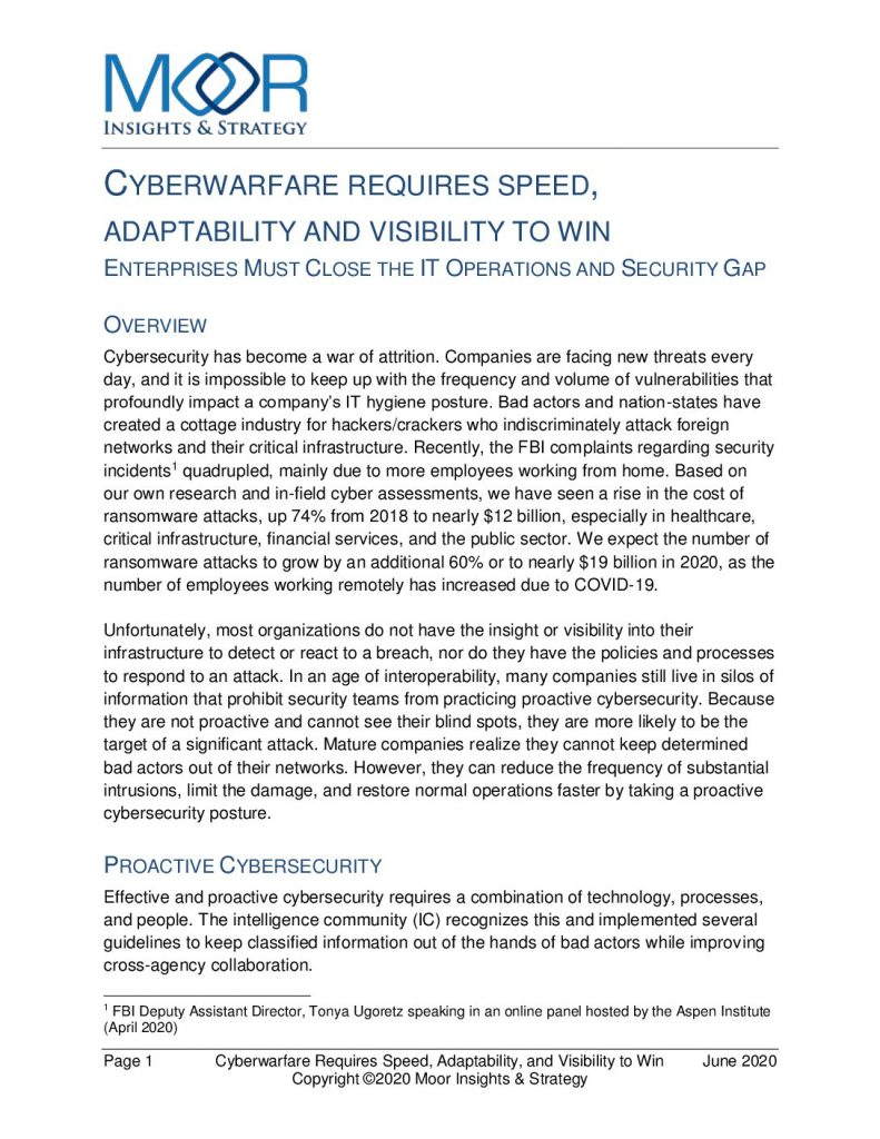 Cyberwarfare Requires Speed, Adaptability and Visibility to Win: Enterprises Must Close the IT Operations and Security Gap