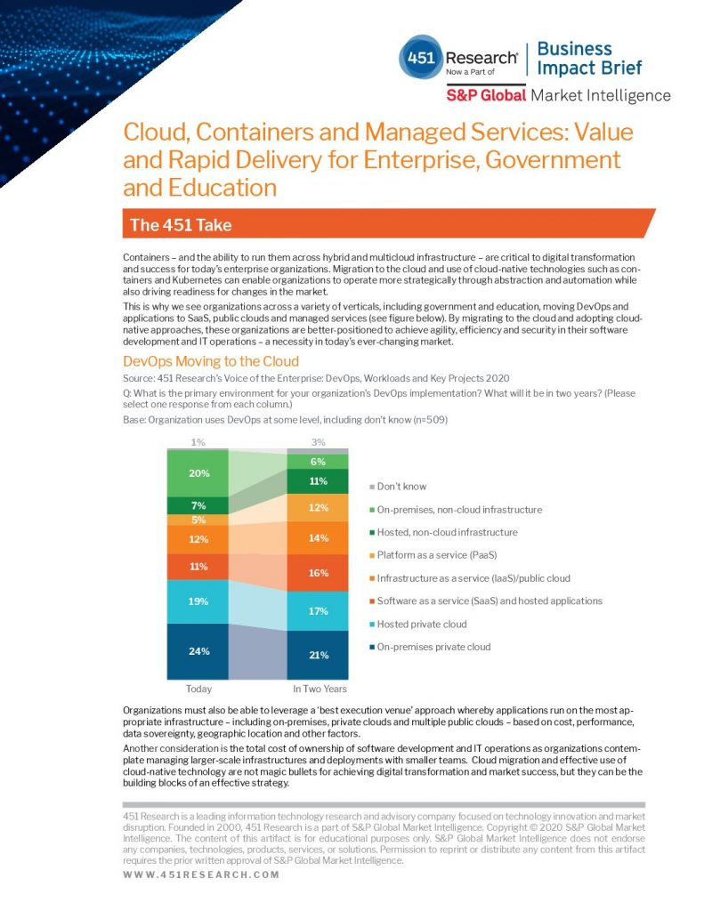 Cloud, Containers and Managed Services: Value and Rapid Delivery for Enterprise, Government and Education