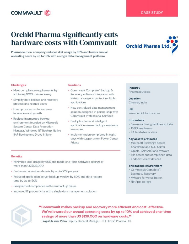 Orchid Pharma significantly cuts hardware costs with Commvault