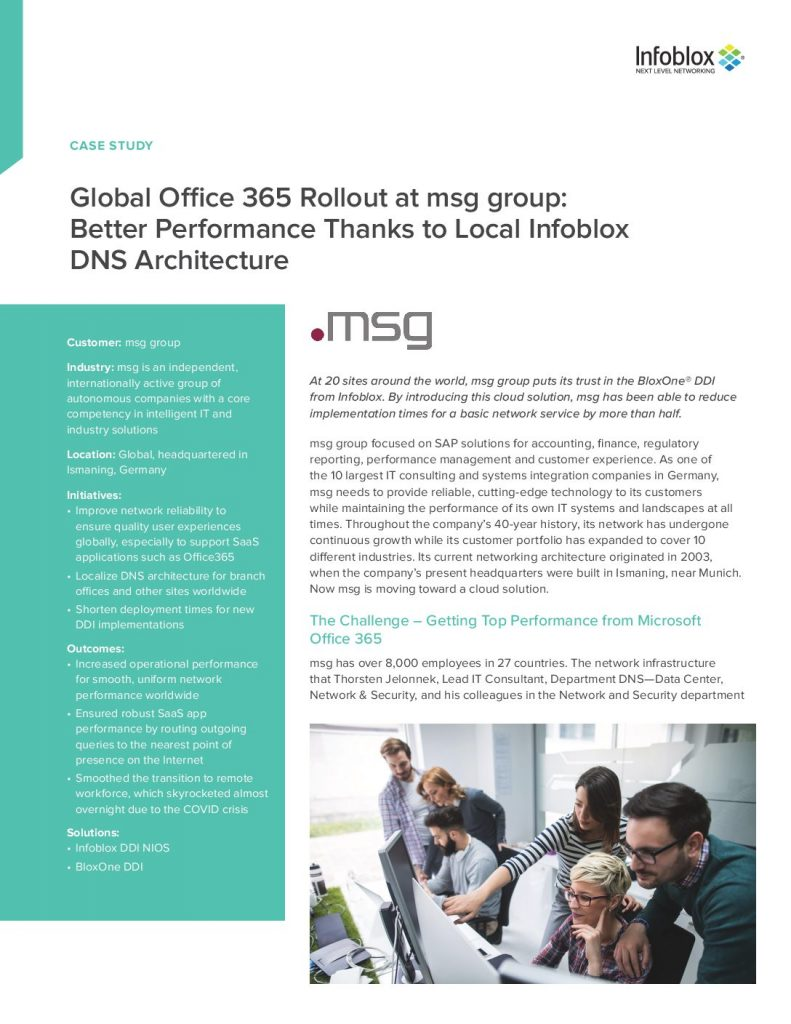 Global Office 365 Rollout at msg group: Better Performance Thanks to Local Infoblox DNS Architecture